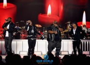LAS VEGAS, NV - NOVEMBER 06: (L-R) Recording artists Woody Rock, Sisqo, Larry 'Jazz' Anthony, and Nokio the N-Tity of Dru Hill perform onstage during the 2016 Soul Train Music Awards on November 6, 2016 in Las Vegas, Nevada. (Photo by Kevin Winter/BET/Getty Images for BET)