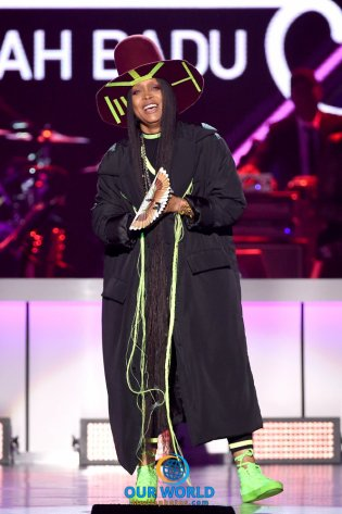 LAS VEGAS, NV - NOVEMBER 06: Host Erykah Badu speaks onstage during the 2016 Soul Train Music Awards on November 6, 2016 in Las Vegas, Nevada. (Photo by Kevin Winter/BET/Getty Images for BET)